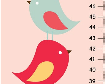 Personalized Growth chart - Birds Sweet Birds - Red and Aqua