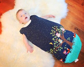 Baby SleepSack / Wearable Blanket - Fox, Foxes, Owls, Tree - Navy Blue - Shower - Nursery