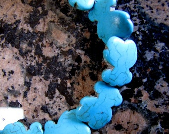 2 Long Strand Magnesite Stone, 2/3 Inch Each, Blue Figure 8, Turquoise Color, 16 Inch, Closeout Destash, Sale, Clearance, Britz Beads Supply