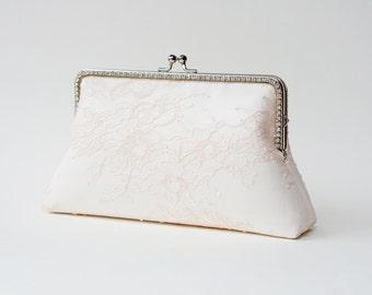 Blush Bridal Clutch / Bridesmaid Clutch Purse / Personalized Clutch / Wedding Lace Clutch / Shappy Chic Vintage inspired