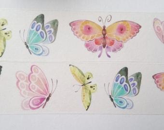 Design Washi tape Butterflies Watercolor Natural