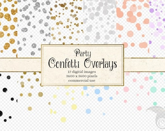 Party Confetti Overlays Clipart, Pastel and gold foil, silver glitter circles, polka dot clip art, baby shower invitations, digital weddings