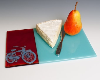 Bikes Fused Glass Cheese Platter, Vintage Bikes, Red and Blue, Cheese Platter