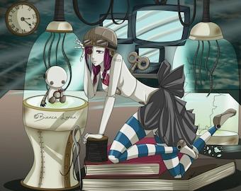 "Clockwork Doll Art Print - 8""x10"" or 11x14"" - original anime manga robot windup art girl - Bianca Loran Art"