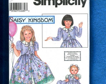Simplicity 9595 Daisy Kingdom  Dress with Puff Sleeve Bolero  for  Little Girls  and Matching Doll Dress  Sizes 5 to 8 UNCUT