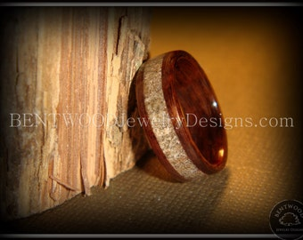 Bentwood Ring - Rosewood with Beach Sand Inlay  - custom handcrafted steam bent wood rings - durable, unique, one-of-a-kind wearable art.