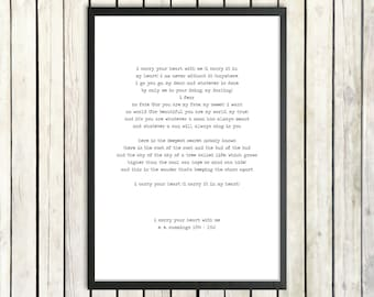 E E Cummings 'I Carry Your Heart' Hand Typed Printable Poetry Download Romantic Gift Love Poster Instant Download Love Poem Literature Gift
