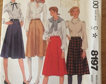Uncut 1980s McCall's 8197 Skirts  • size 14
