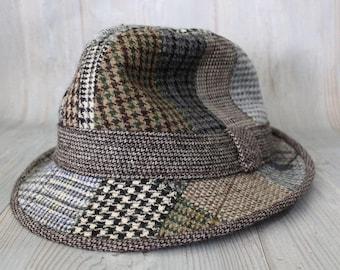 Vintage 80s WONDERWOOL British Patchwork British Fedora Hat M