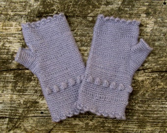 Lavender Scalloped Fingerless Gloves crocheted feminine wrist warmers texting gloves