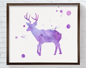 Purple Deer, Girls Room Decor, Deer Art Print, Watercolor Deer, Deer Painting, Woodland Decor, Nursery Wall Decor, Deer Poster, Baby Girl