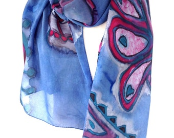 Silk scarf hand painted Handmade scarves Peacock scarf Gift for bride Silk shawl Henna art Blue silk scarf Best selling items Made in Canada