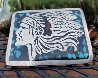 Vintage Indian Chief Turquoise Inlaid Belt Buckle 1970's