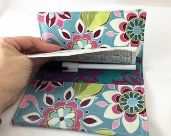 Duplicate Checkbook Cover with Pen Holder - Blue Duplicate Checkbook Register Fabric Checkbook Cover-  Riley Blake Botanique Flowers Teal