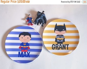 Memorial Day Sale personalized Melamine Plate (one plate) - Superman OR Batman
