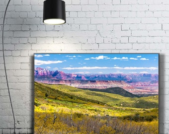 Yellow Flowers Spring Grand Canyon Pasture Blue Sky Beautiful Promised Land Christian heaven Print wall art