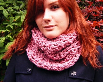 Pink Cowl Chunky Crochet Scarf Neckwarmer