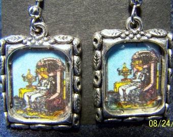 Queen of Cups Tarot Card Earrings