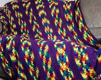 Purple stripe with a rainbow of colors in between.