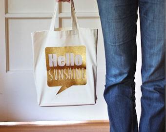 Tote Bag,Hello Sunshine,Canvas Tote Bag,Gift Bag,Cotton Bag,Gift for Her,Canvas Bag for Women,Grocery Bag,Printed Bag,Market Bag,Hello