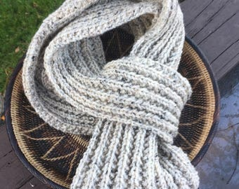 Hand knitted wool scarf, oatmeal color wool blend scarf, hand knitted scarf for men