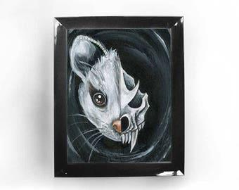 Possum Wall Art, Oppossum Skull, Custom Print Size, Wildlife Decor, Taxidermy, Woodland Animal, Home Decor, Gothic Gift, Life & Death