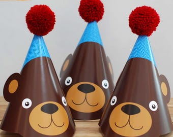 4 X BEAR WOODLAND ANIMAL Teddy Bear Children's Birthday Party Wool Pom Pom Hat