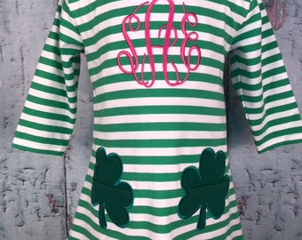 Striped Dress with Shamrock Pocket Appliques - Clover Lucky St. Patrick's Day
