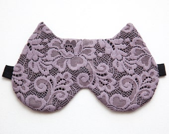 Purple Sleep Mask, Cat Lover Gift, Purple Bridesmaid Gift, Gift for New Mom, Travel Gifts for Women, Lace Sleeping Mask