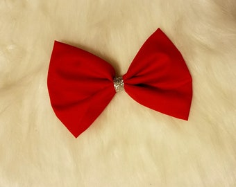 Red and Silver Fabric Hair Bow With Clip