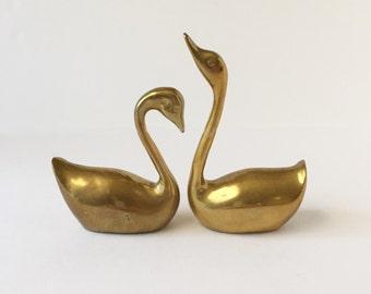 Vintage Solid Brass Swans, Pair Midcentury Swans, Vintage Swan Figurines, Pair Solid Brass Swans