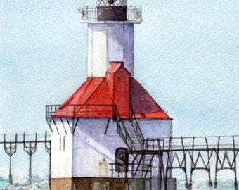 North Pier Lighthouse 5x7 inches giclee print