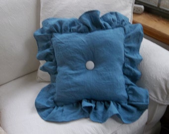 Blue Linen Pillow Ruffled Pillow Bedroom Pillow Decorative Pillow French Country Farmhouse Prairie Cottage Chic