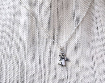 Silver Angel Necklace, Sterling Satellite Chain, Delicate Silver Saturn, Custom Length, Angel Heart Charm, Christian Jewelry, Angel Pendant