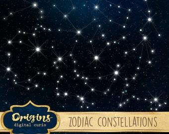 Zodiac Constellations Clipart, Zodiac Vectors, night sky birth sign vector clip art, constellation tarot night sky png eps instant download