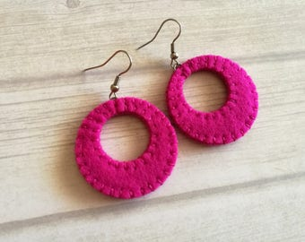 Pink Hoop Earrings, Magenta earrings, Lightweight earrings, Minimalist Earring Circle dangle earrings, Pink Gift for friend, Gift for sister