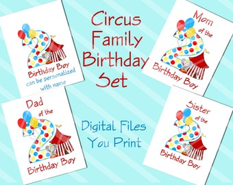 Circus Family Birthday Set Printable Digital Downloads for iron-ons, heat transfer, T-Shirt, Totes, Bags,Scrapbooking,  YOU PRINT