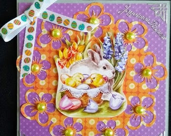 Easter, Bunny and Chick card