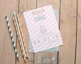 Boy Birthday Invitation, First Birthday Invitation, Modern Birthday Party, Cake Invitation, Printable, Stripes