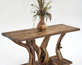 Rustic Log Sofa Table