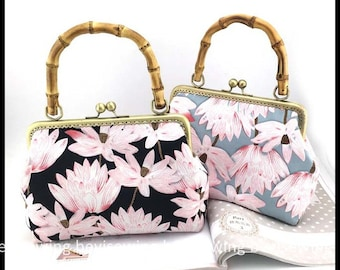 Hand Made Sewing Bag/Bamboo Handle Bag with Lotus Flower Pattern/Top Handle Bags/Size: 16*24*6cm(B079)
