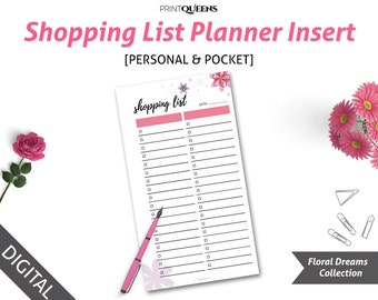 Shopping List Insert, Shopping List Notepad, Shopping List Printable Planner Insert, Filofax Personal  Personal Size, Pocket Size