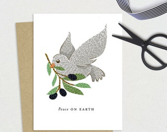 Peace on Earth Card • Grey Dove with Olive Branch • A2 Card with Kraft Envelope