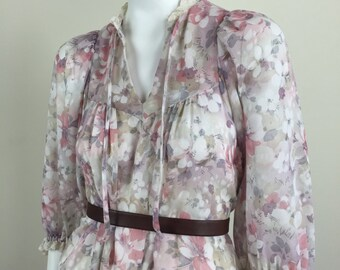 sheer floral bohemian tent dress w/ lace trim & necktie 70s