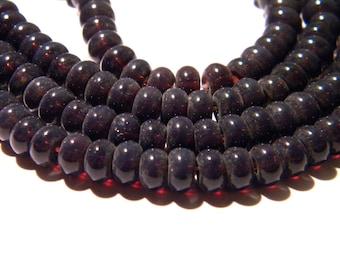 30 beads 6 x 4 - glass abacus - pumpkin way jade - plum-F119-2