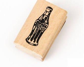 T088 Coke Bottle Rubber Stamp / Wooden Stamp, Coca-Cola, vintage coke bottle, paper stamp, journaling, soft drink stamp, stationery