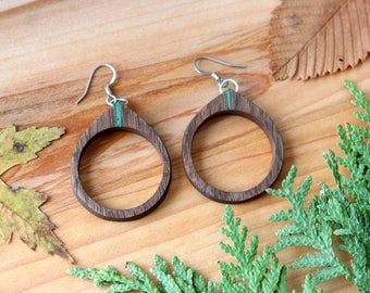 Hoop Earrings Jewelry Earrings, Woodland Earrings Woodland Jewelry Earring, Wooden Earrings Hooped Earrings, Nature Jewelry