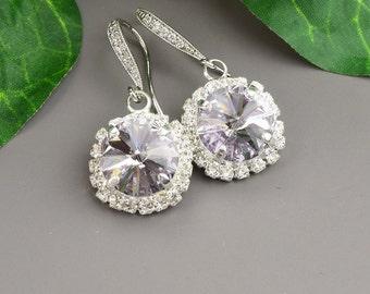 Light Purple Earrings - Swarovski Crystal Earrings - Lavender Earrings Silver - Bridesmaid Jewelry - Bridal Jewelry - Gifts for Bridesmaids