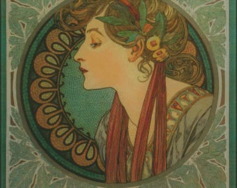 Laurel vintage art as a counted cross stitch pattern by Alfons Mucha