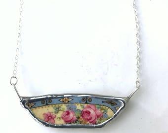 Broken China Vintage Ceramic Folklore Pink Rose Necklace